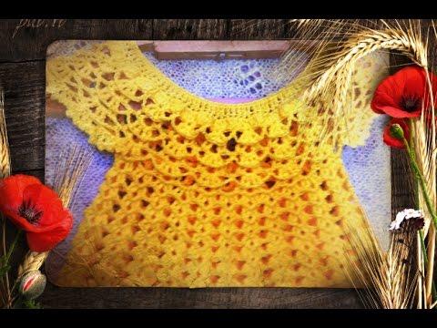 Платье для девочки крючком Сердечки Круглая кокетка Часть