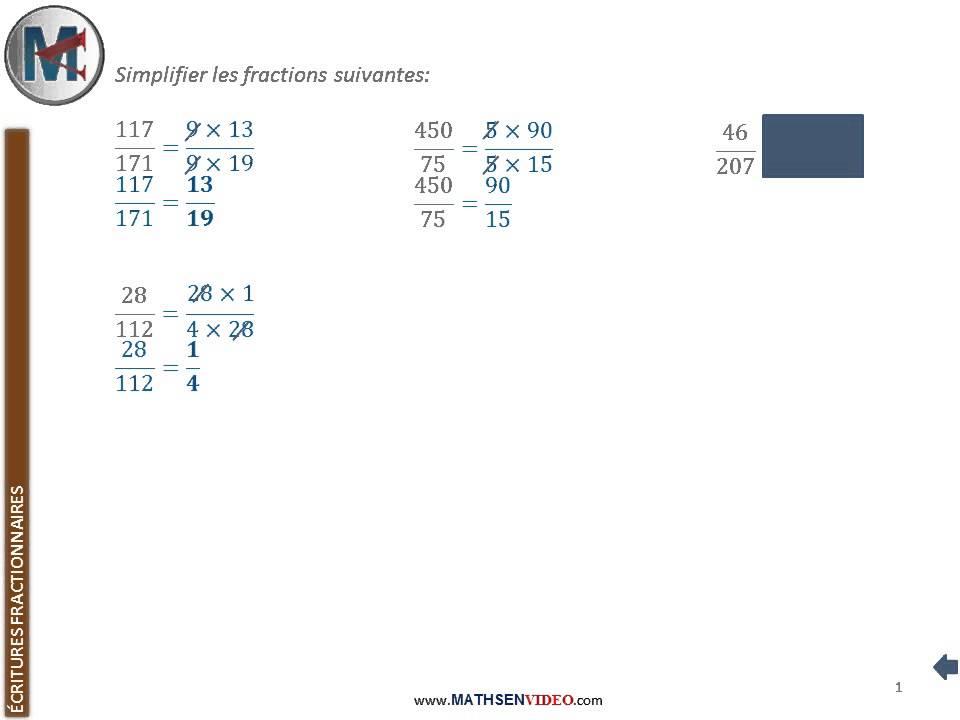 Exercice Simplification De Fractions Youtube