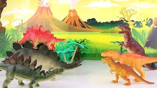 Jurassic World Dinosaur Toys (T-Rex vs Stegosaurus) fighting for Kids. Dinosaurs Battle Funny video