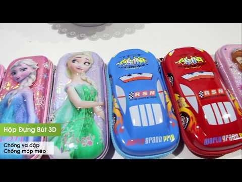 Hộp bút học sinh siêu đẹp 3D in hình Elsa Anna, Sofia, ô tô Pixar Disney