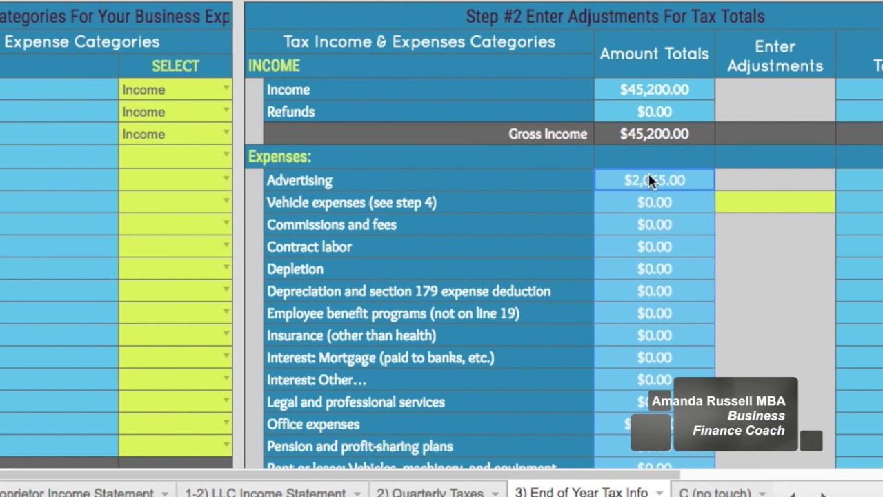 tax expense spreadsheet