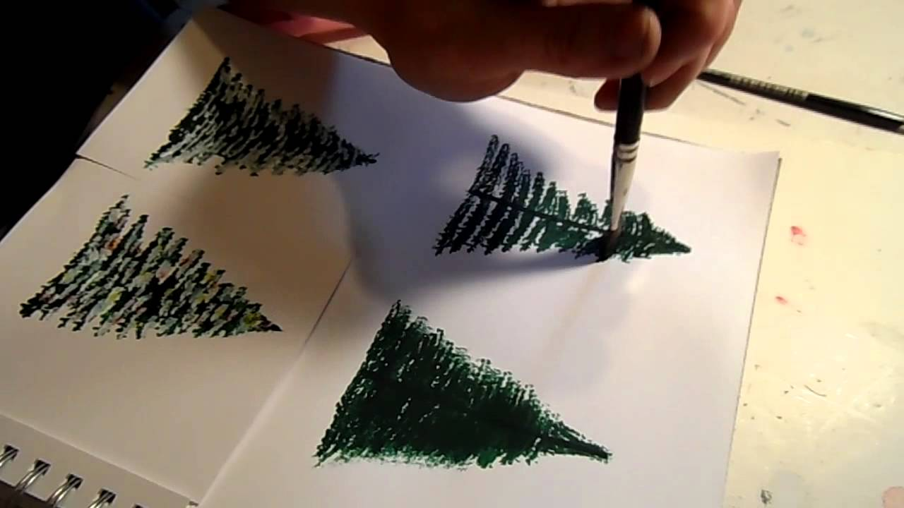 How to paint a pine tree or christmas tree youtube Christmas card scenes to paint