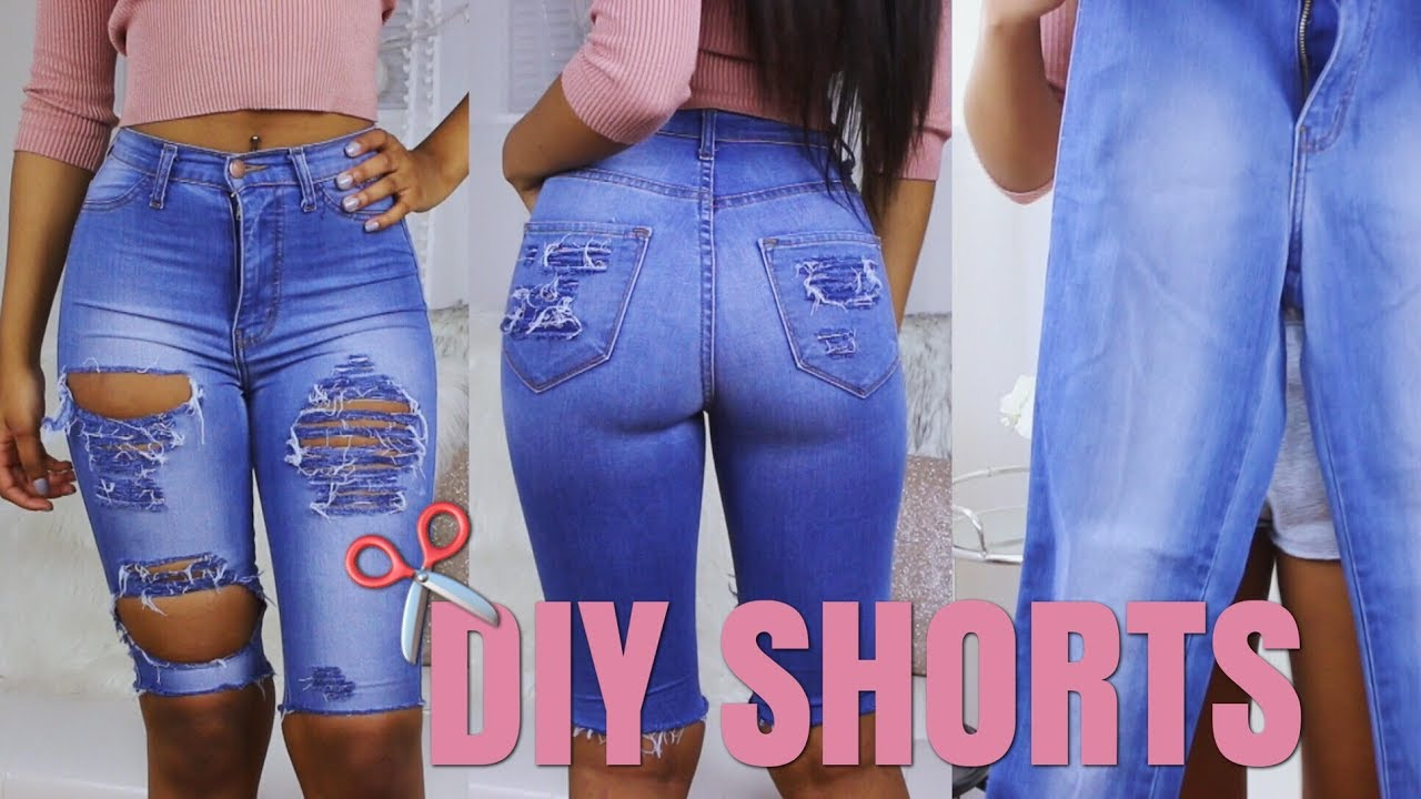 DIY Shorts From Jeans | How To Re vamp Old Clothes! (Simple No Sew)