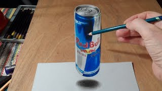 Drawing  3D Levitating Red Bull Can, Fine Art.