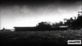 USS Wasp (CV-7) burning and sinking - Very rare footage! (1942)