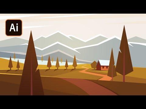 Осенний пейзаж в Adobe illustrator