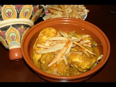 recette-tagine-de-poulet-aux-frites---chicken-tagine-with-fries-recipe---recettes-maroc