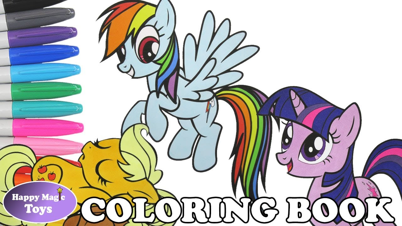 MLP Coloring Book Pages Compilation Dashie Applejack Twilight My Little Pony Kids Art Happy Magic Toys
