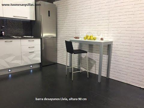 Mesa alta y barra de cocina Livia extensible - YouTube