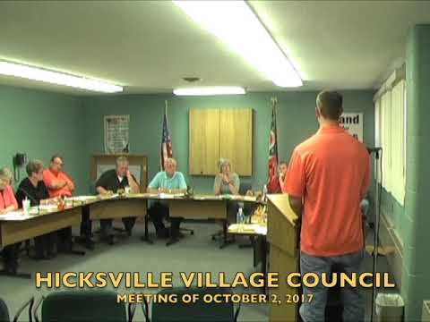 Hicksville Village Council Meeting 10-2-17