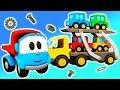Léo o caminhão curioso.  Um caminhão transportador. Coleção de desenhos animados.