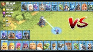 MEGA TESLA vs ALL TROOPS!! Who Is The Strongest?? Clash Of Clans Troll Attack!!