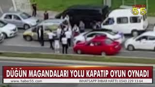 SAMSUN& 39 DA 3 ARAÇ YOLU KAPATTI KONVOYDA BULUNANLAR OYUN OYNADI