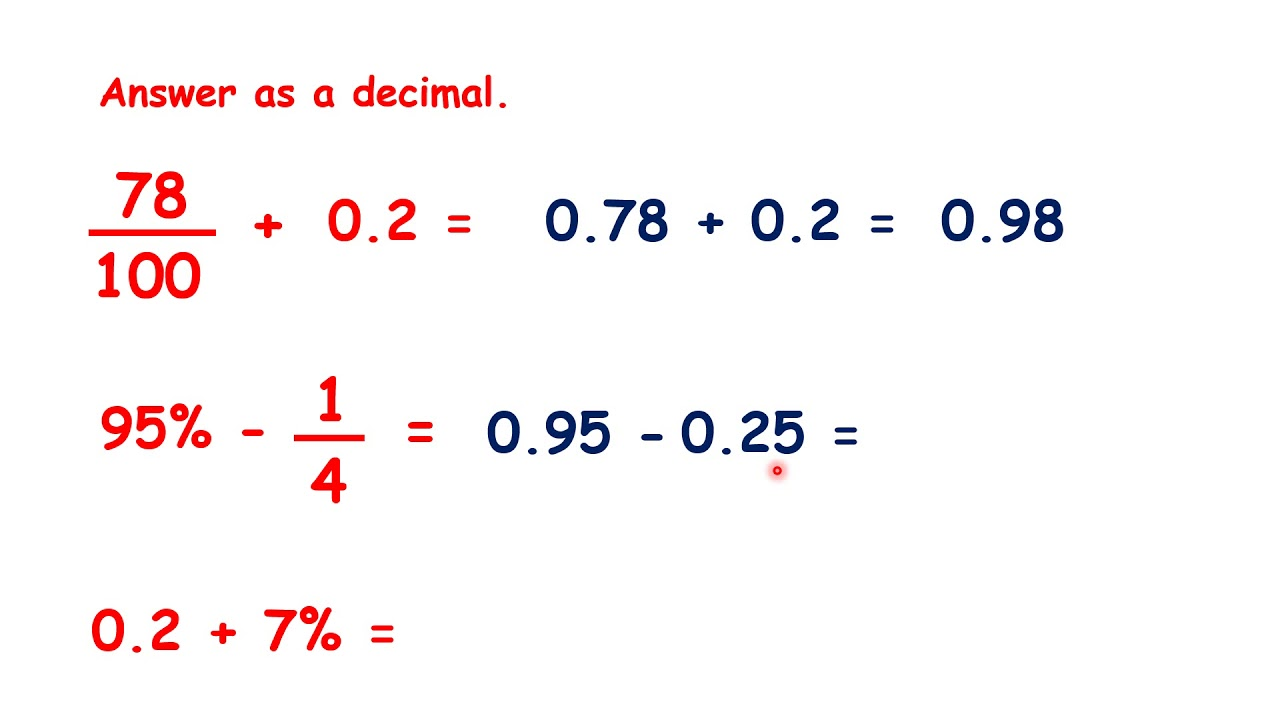 Convert Between Fractions Decimals And Percentages To Answer Calculations