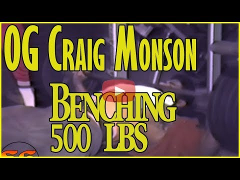 OG Craig Monson bench presses 500 lbs with wide grip 9 times in 1985
