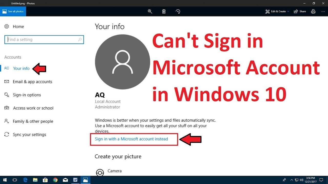 cant sign in to windows 10 account