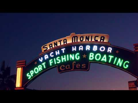 Santa Monica Beach  Video 4k Drone footage -  Los Angeles ,California