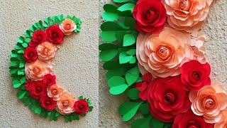 DIY Paper Flower Wall Hanging // Easy Wall Decoration Idea // Paper Rose  Wall hanging