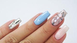 Blue geometric nails art tutorial / Colours by Molly