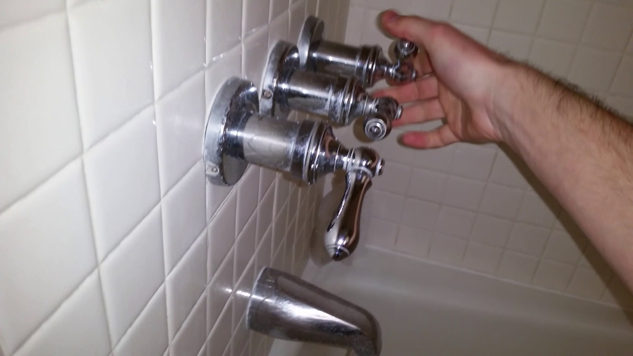 Water Leaking From Tub U0026 Shower Faucets   Old 1987 Valve Stems   Three  Handle Fixtures