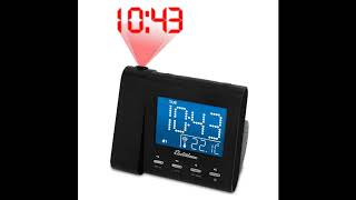 Electrohome EAAC601 Projection Alarm Clock with AM FM Radio, Battery Backup, Auto Time Set