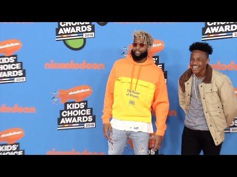 Odell Beckham Jr., Jaylin Smith 2018 Kids' Choice Awards Orange Carpet