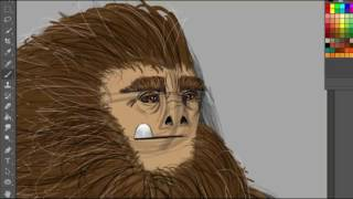 Coloring a drawing of a Yeti( Almost full process)
