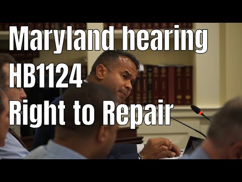 Maryland HB1124 Right to Repair hearing