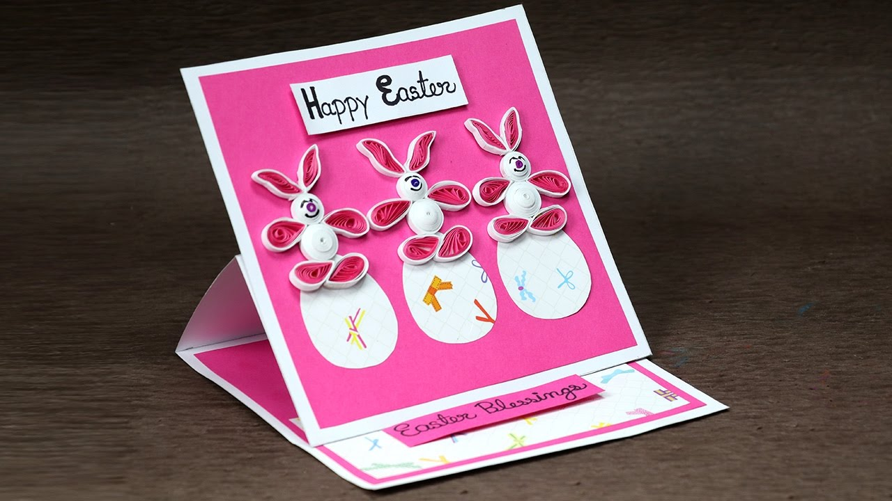 Handmade Easter Card with Super Cute Quilling Bunny and Eggs YouTube – Easter Cards Handmade