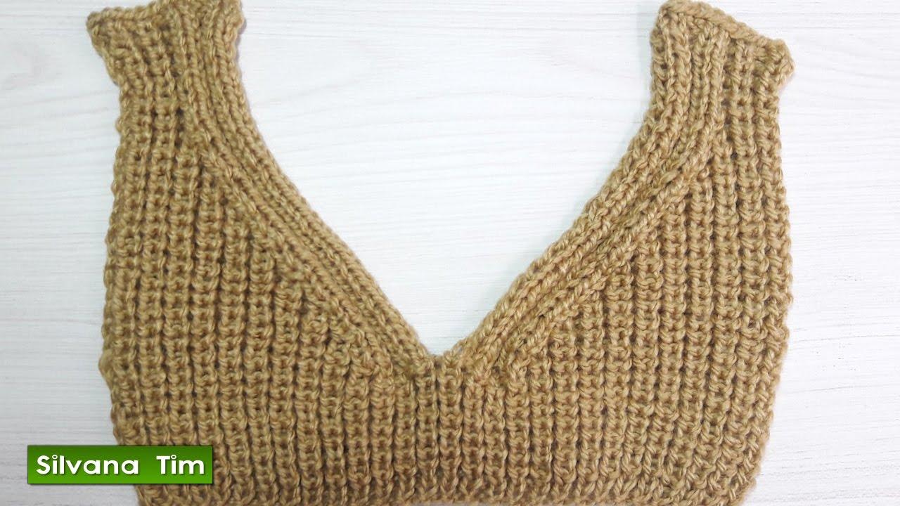 c43053675a Cómo tejer cuello (escote) en V con dos agujas   564 - YouTube