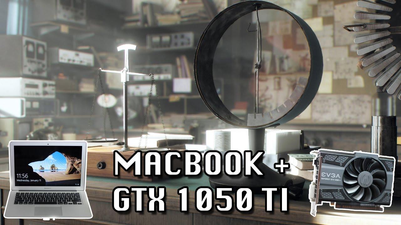 Unigine Superposition on a MacBook + GTX 1050 Ti (High, 1080p)