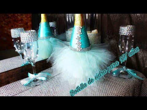 DIY como decorar botellas de sidra para bodas y quiceaños
