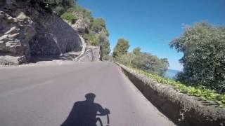 Fast descent into Deia, Mallorca on a road bike