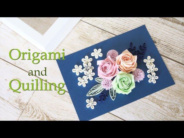 【制作過程】ペーパークイリングと折り紙のアートフレーム - Not Tutorial : Paper Quilling and Origami Flowers