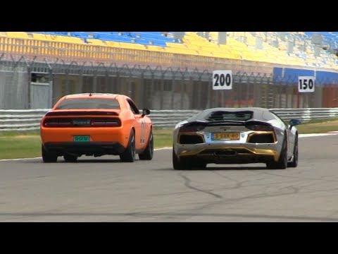 DRAGRACE | Dodge Challenger SRT Hellcat vs Aventador w/ Capristo Carbon Exhaust | CROWD GOES NUTS!