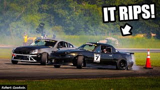 homepage tile video photo for First Drift Comp With the New LS3 In The Miata! Will She Hold Together!? One-Week Rebuild Test!