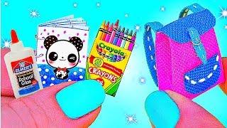 DIY REAL MINIATURES SCHOOL SUPPLIES / Backpack, Notebook, Crayola / MAKING AMAZING MINIATURE DIY