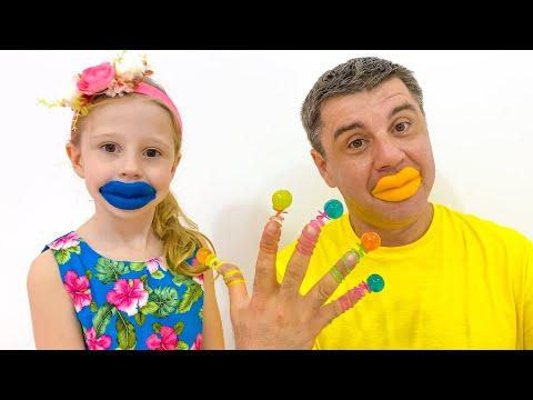 Настя и папа - шутки со сладостями