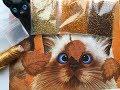 Поделки - Вышивка бисером. Котик с листиками от М.П.Студии. Готовая работа.
