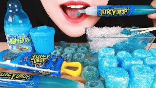 ASMR BLUE CANDY: LOLLIPOP, GUMMIES, MARSHMALLOWS, JUICY DROP POP, BABY BOTTLE POP, ROCK CANDY, JELLY