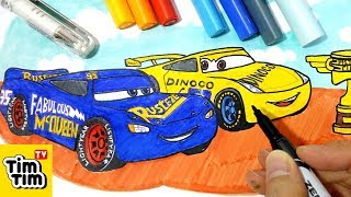 How to draw CARS 3 CRUZ DINOCO 51 and FABULOUS MCQUEEN | Easy step-by-step for kids | Art colors