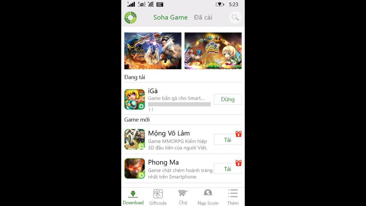 Hướng dẫn tải app Soha Game trên windows phone 8.1 & demo tải, cài game Igà