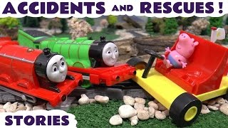 Thomas and Friends Accidents and Rescues with Peppa Pig Minions Batman and Juguetes de Cars