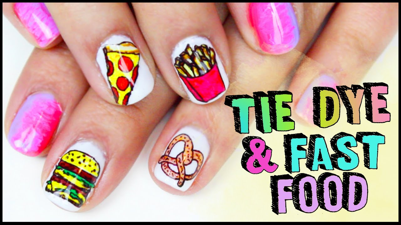 Tie dye fast food gel nail art youtube prinsesfo Images