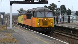 Colas Rail 56078 coupling 15 empty timber wagons Newton Abbot