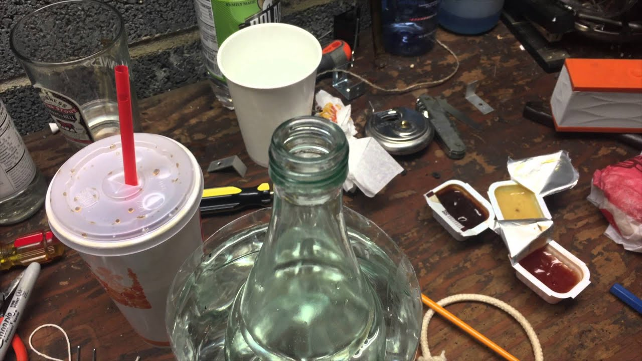 Homemade GLASS ON GLASS gravity bong MILKAGE!