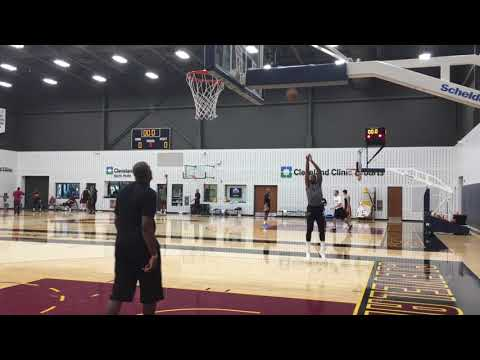 Tristan Thompson working on 3-pointers at practice
