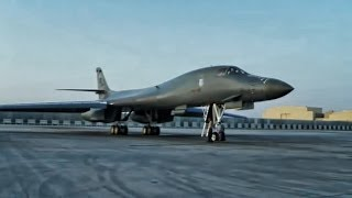 B-1 Bomber Taxi & Takeoff From Al Udeid Air Base