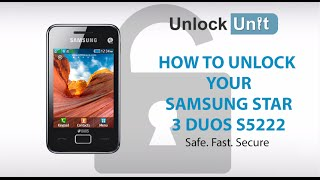 UNLOCK SAMSUNG STAR 3 DUOS S5222 - HOW TO UNLOCK YOUR SAMSUNG STAR 3 DUOS S5222