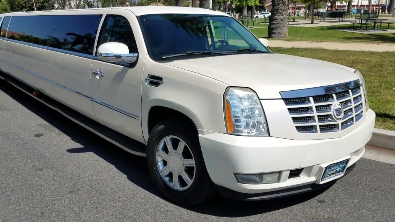 2008 Pearl White 200 Inch Stretch Cadillac Escalade Esv
